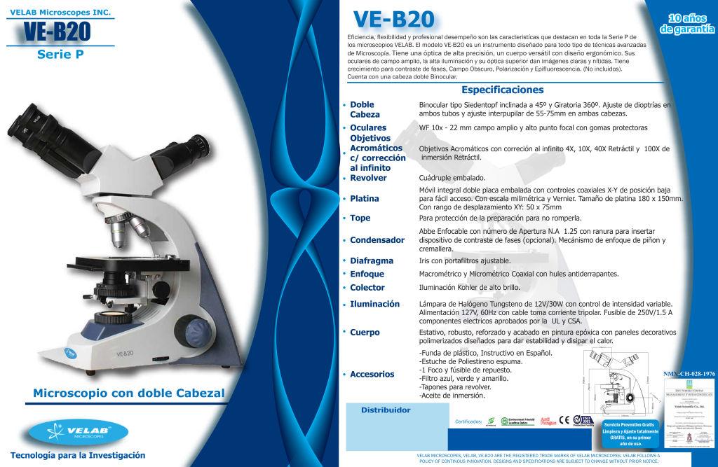 Microscopio Con Doble Cabezal Ve B20 Amaro Amp King
